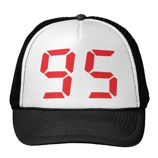 95 ninety-five red alarm clock digital number mesh hats