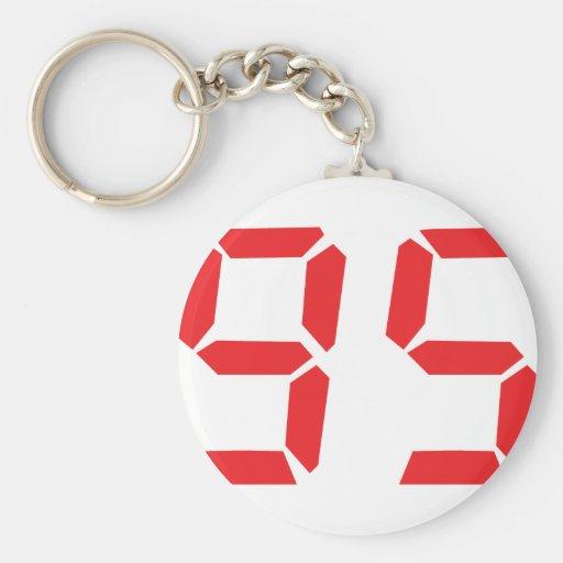 95 ninety-five red alarm clock digital number key chain