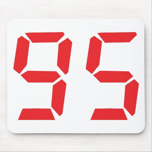 95 ninety-five red alarm clock digital number mouse mats