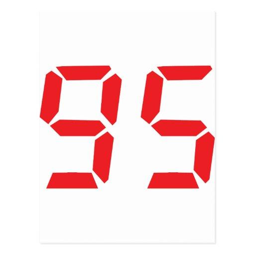 95 ninety-five red alarm clock digital number post card