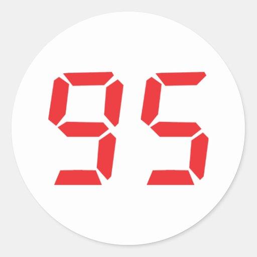 95 ninety-five red alarm clock digital number round sticker