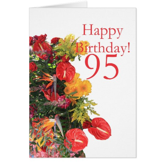 95 th birthday red yellow bouquet card