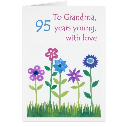 95th Birthday Card for a Grandmother - Flowers