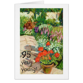 95th Birthday Card - Red Geraniums