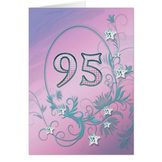 95th Birthday card with diamond stars