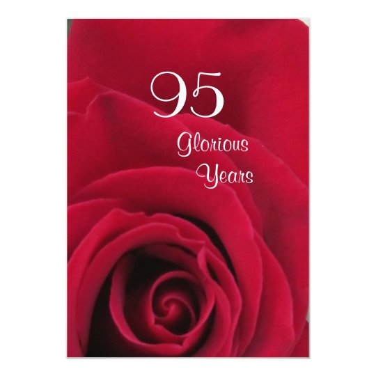 95th Birthday Celebration!-Deep Red Rose Card