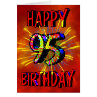 95th Birthday Fireworks Greeting Card