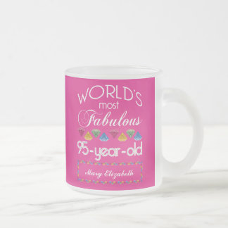 95th Birthday Most Fabulous Colorful Gems Pink Frosted Glass Coffee Mug