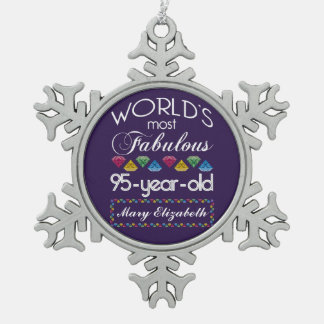 95th Birthday Most Fabulous Colorful Gems Purple Snowflake Pewter Christmas Ornament