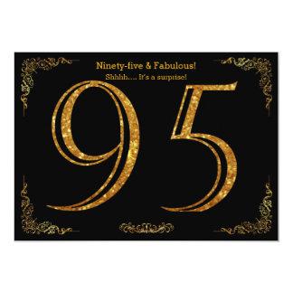 95th Birthday party,Gatsby styl,black gold glitter Card