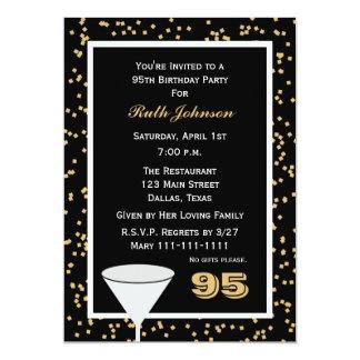 """95th Birthday Party Invitation -- 95 and Confetti 5"""" X 7"""" Invitation Card"""