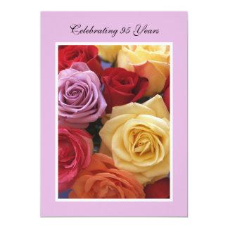 "95th Birthday Party Invitation -- Beautiful Roses 5"" X 7"" Invitation Card"