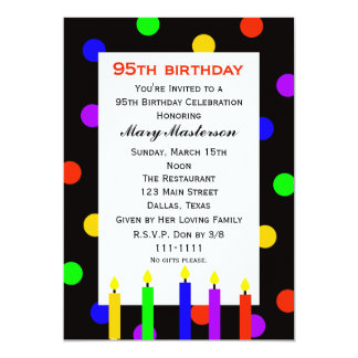 "95th Birthday Party Invitation -- Candles and Dots 5"" X 7"" Invitation Card"