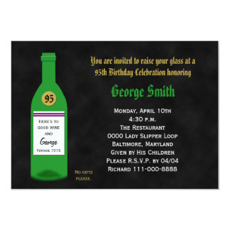 "95th Birthday Party Invitation - Chalkboard 5"" X 7"" Invitation Card"