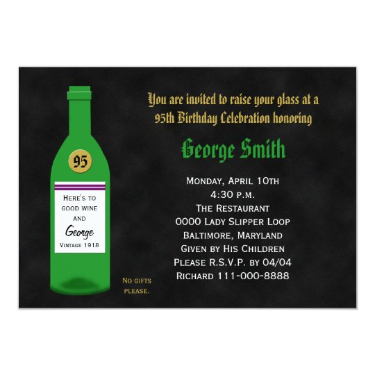 95th Birthday Party Invitation Chalkboard