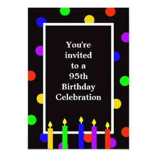 """95th Birthday Party Invitation -- Colorful Candles 5"""" X 7"""" Invitation Card"""