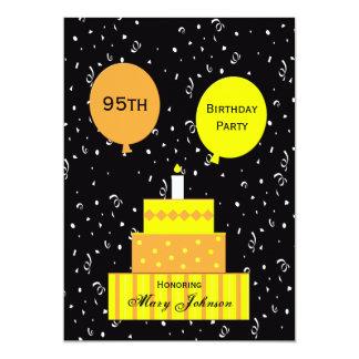 """95th Birthday Party Invitation -- Fun 95th Cake 5"""" X 7"""" Invitation Card"""