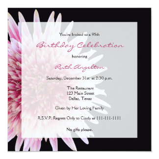 "95th Birthday Party Invitation -- Gerbera Daisy 5.25"" Square Invitation Card"