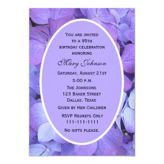 "95th Birthday Party Invitation -- Hydrangeas 5"" X 7"" Invitation Card"