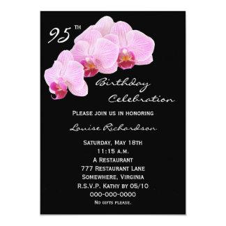 "95th Birthday Party Invitation -- Orchids 5"" X 7"" Invitation Card"