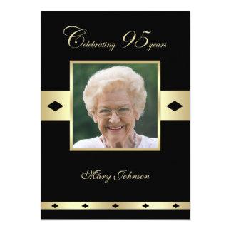"95th Birthday Party Invitation -- Photo 95th 5"" X 7"" Invitation Card"