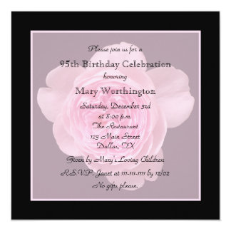"95th Birthday Party Invitation - Rose for 95th 5.25"" Square Invitation Card"