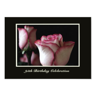 "95th Birthday Party Invitation -- Roses 5"" X 7"" Invitation Card"