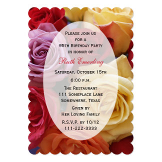 95th Birthday Party Invitation Roses FLoral Cards