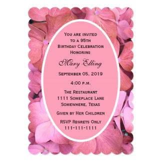 "95th Birthday Party Invitation Scalloped Hydrangea 5"" X 7"" Invitation Card"