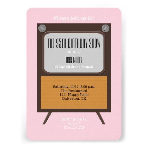 95th Birthday Party Invitation TV on Pink