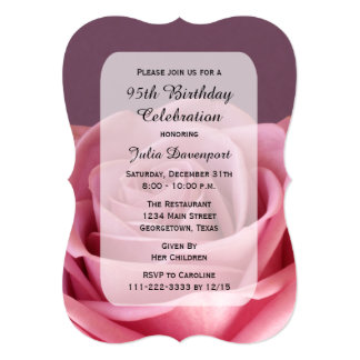 """95th Birthday Party Invitation with Gorgeous Rose 5"""" X 7"""" Invitation Card"""
