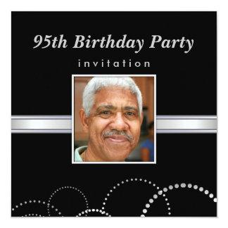 """95th Birthday Party - Masculine Photo Invitations 5.25"""" Square Invitation Card"""