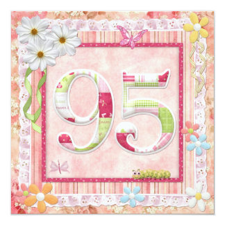 95th birthday party scrapbooking style 13 cm x 13 cm square invitation card