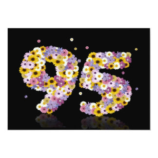 95th Birthday party, with flowered letters Custom Announcements