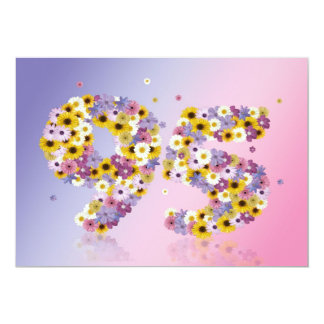 95th Birthday party, with flowered letters Personalized Invites