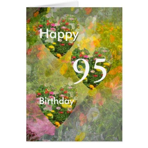 95th Birthday Pretty Green hearts Greeting Cards
