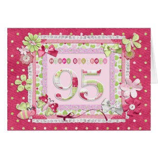 95th birthday scrapbooking style greeting card