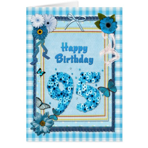 95th Birthday with a scrapbook effect Greeting Cards
