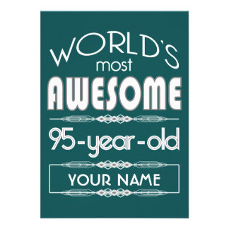 95th Birthday Worlds Best Fabulous Dark Green Fore Custom Invitation