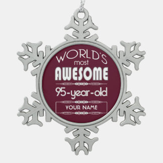 95th Birthday Worlds Best Fabulous Dark Red Ornament