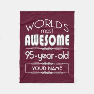 95th Birthday Worlds Best Fabulous Dark Red Maroon Fleece Blanket