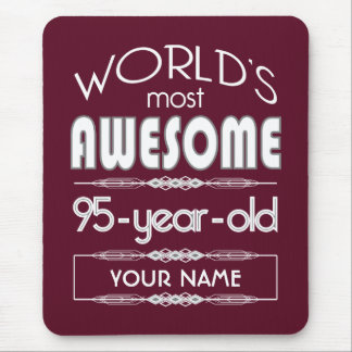 95th Birthday Worlds Best Fabulous Dark Red Mouse Pad