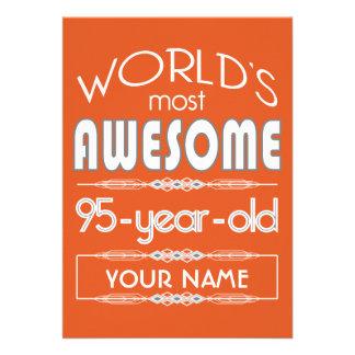 95th Birthday Worlds Best Fabulous Flame Orange Custom Announcements