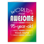 95th Birthday Worlds Best Fabulous Rainbow Greeting Card