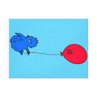 965 Bluebird of happiness and a red balloon Canvas Print