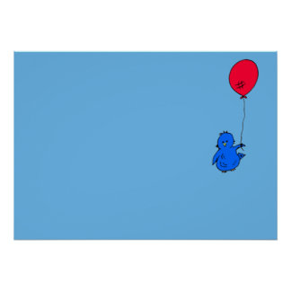 965 Bluebird of happiness and a red balloon Poster