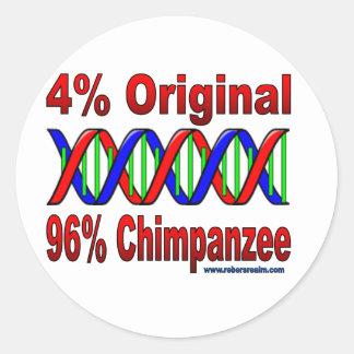 96% chimp classic round sticker