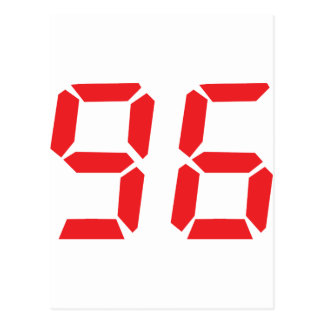96 ninety-six red alarm clock digital number post card