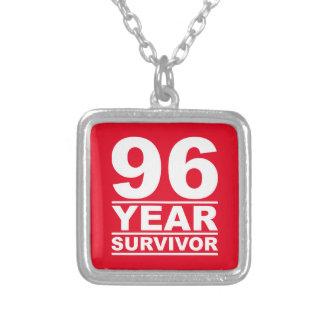 96 year survivor square pendant necklace