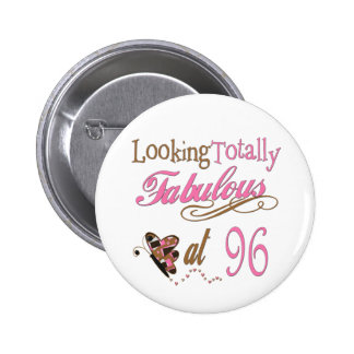 96th birthday 6 cm round badge